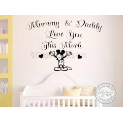 Mickey Mouse Nursery Wall Sticker Bedroom Decor Decal Mummy & Daddy Love You This Much