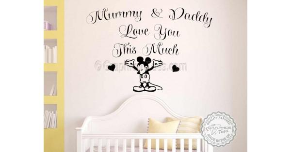 mickey mouse nursery wall sticker bedroom decor decal mummy daddy