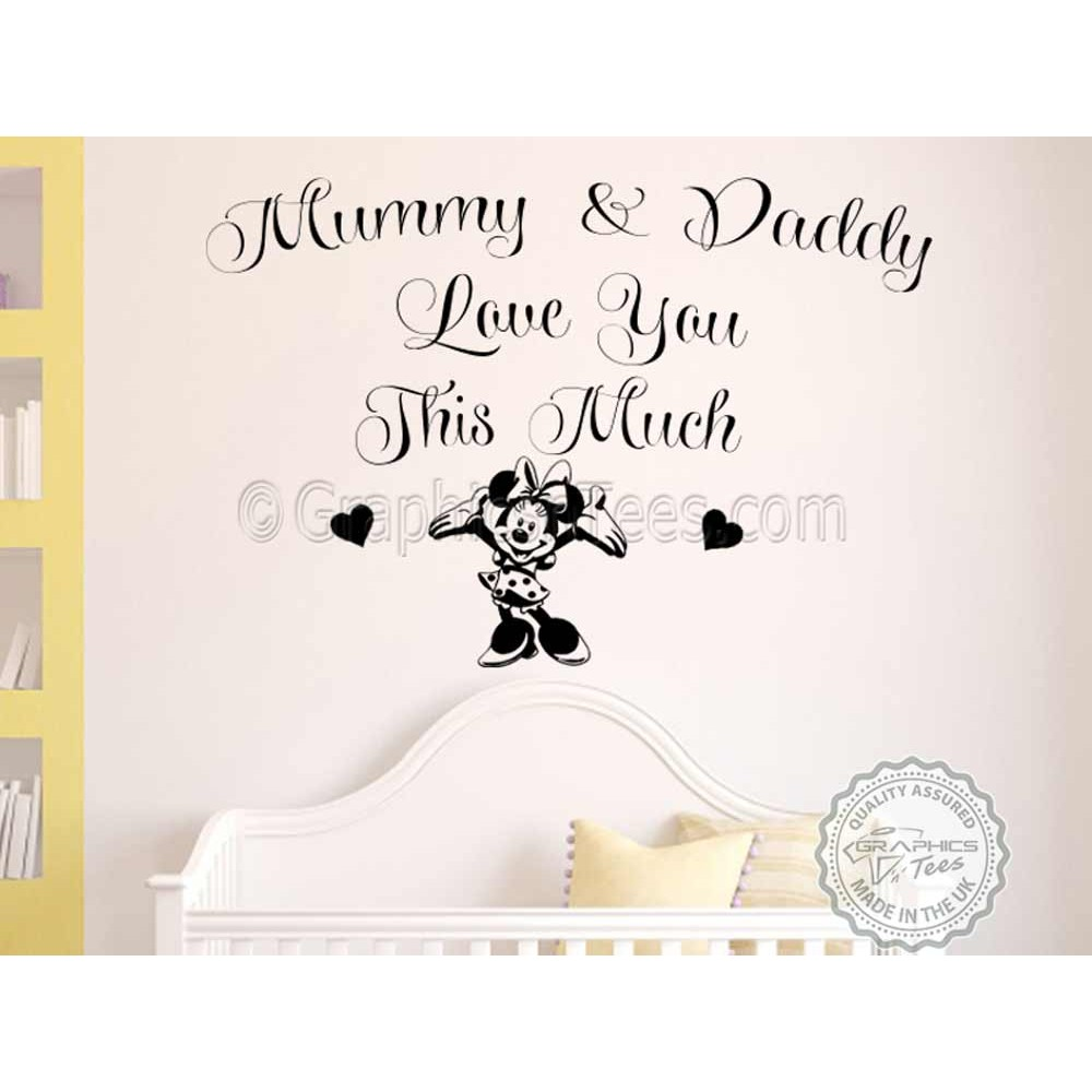 Minnie Mouse Nursery Wall Sticker Bedroom Wall Quote Decor Decal Mummy U0026  Daddy Love You This Much