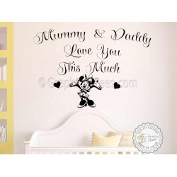 Minnie Mouse Nursery Wall Sticker Bedroom Wall Quote Decor Decal Mummy & Daddy Love You This Much