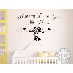 Mummy Loves You Nursery Wall Quote Minnie Mouse Bedroom Wall Decor Decal