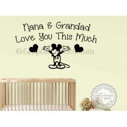 Nana & Grandad Love You Wall Quote, Mickey Mouse Nursery Bedroom Wall Sticker Decor Decal