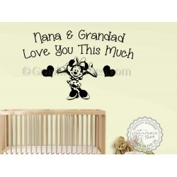 Nursery Wall Sticker Minnie Mouse Bedroom Wall Decor Decal Nana & Grandad Love You Wall Quote