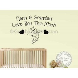 Nursery Wall Sticker Winnie The Pooh Bedroom Wall Decor Decal, Nana & Grandad Love You Wall Quote