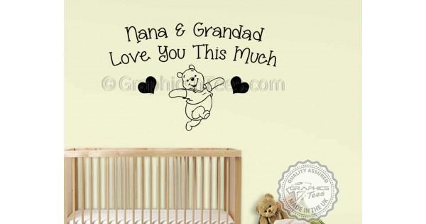 Nursery Wall Quote Baby Boy Girls Bedroom Nana /& Grandad Mickey Mouse Sticker