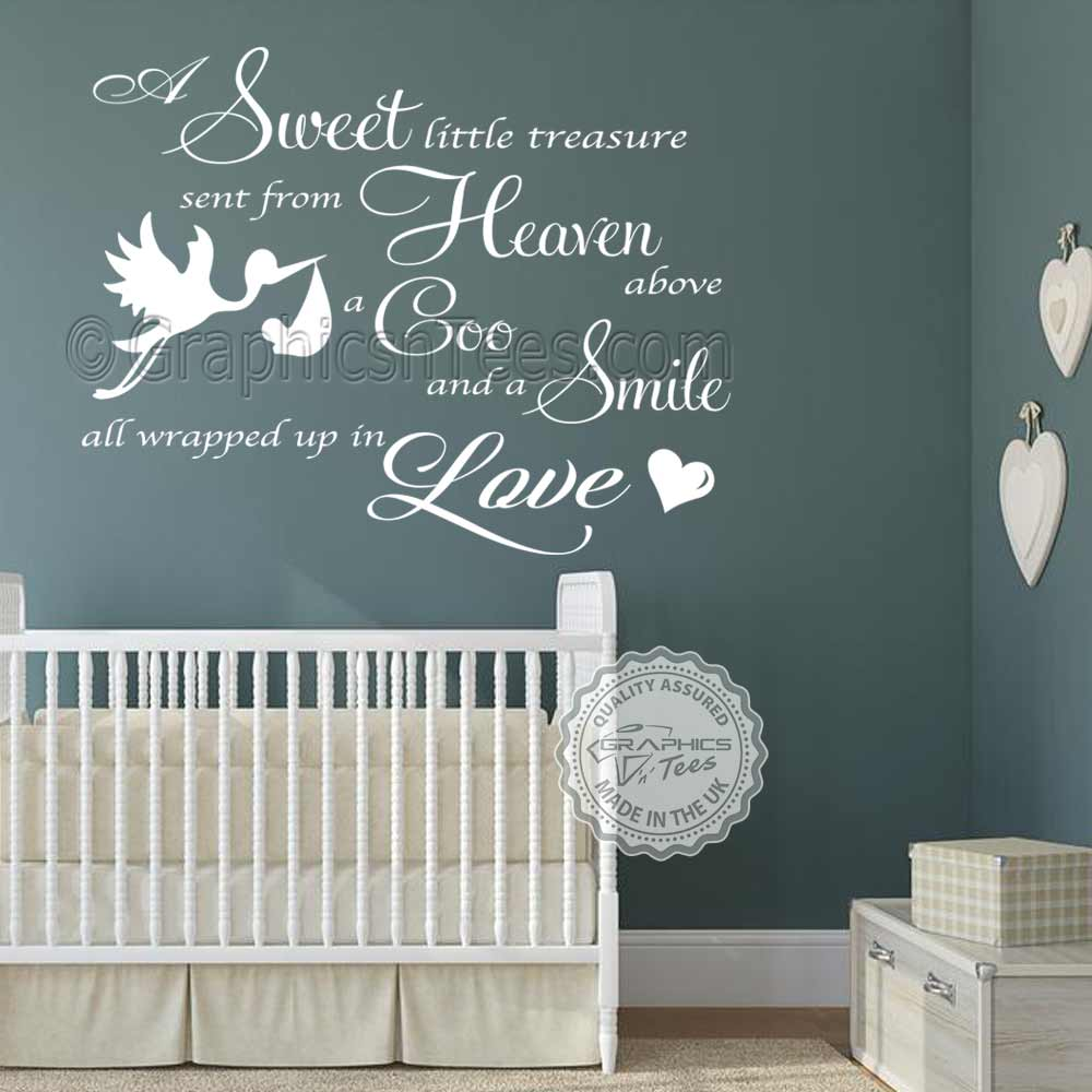 Boys Girls Nursery Wall Sticker Baby Bedroom Wall Quote Decor Decal