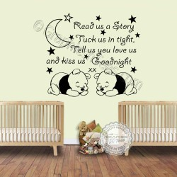 Read Us A Story Twins Nursery Wall Sticker with Two Sleeping Baby Winnie the Pooh Baby Boys Girls Bedroom Wall Quote