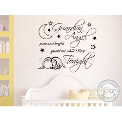 Guardian Angel, Guard Me While I Sleep Tonight,  Nursery Wall Sticker Quote, with sleeping baby angel on cloud