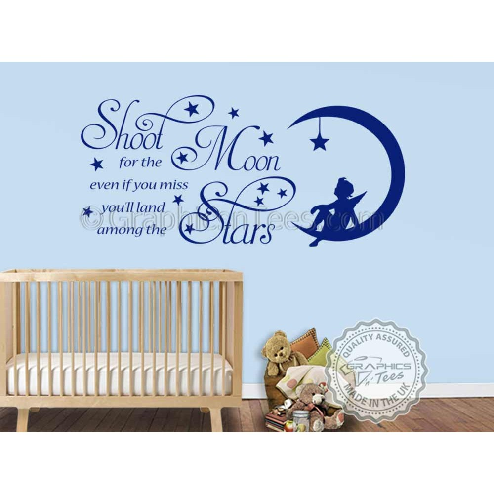 Shoot For The Moon Stars Wall Stickers Baby Boy Nursery