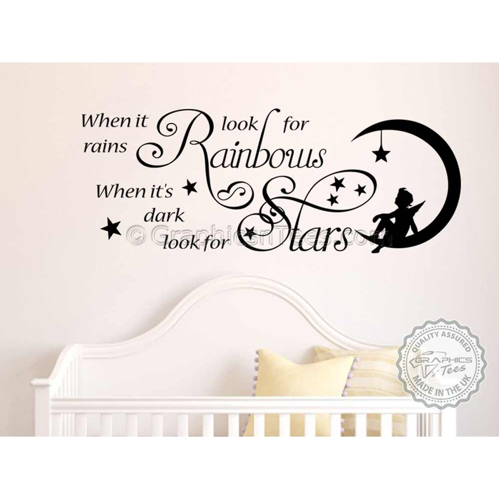 When it rains look for rainbows star Wall Stickers Art Quote Home Decor UK ZX127
