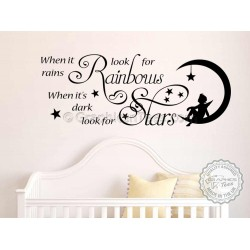 When it Rains Look for Rainbows, Dark Look for Stars, Bedroom, Lounge, Family Wall Sticker Quote