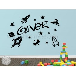 Childrens Personalised Nursery Bedroom Playroom Wall Sticker with Rockets Spaceships Stars Decor Decals