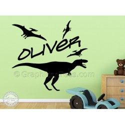 Childrens Personalised Stickers, Nursery Bedroom Playroom Dinosaur Wall Decor Decals