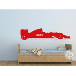 Personalised F1 Racing Car, Boy Girls Bedroom Wall Mural Sticker Decor Decal