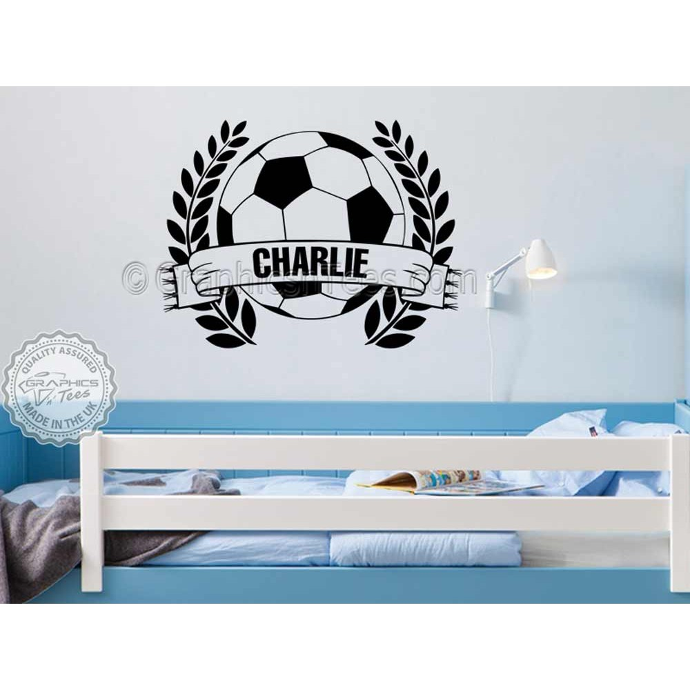 Personalised Football Wall Stickers Boy Girls Bedroom
