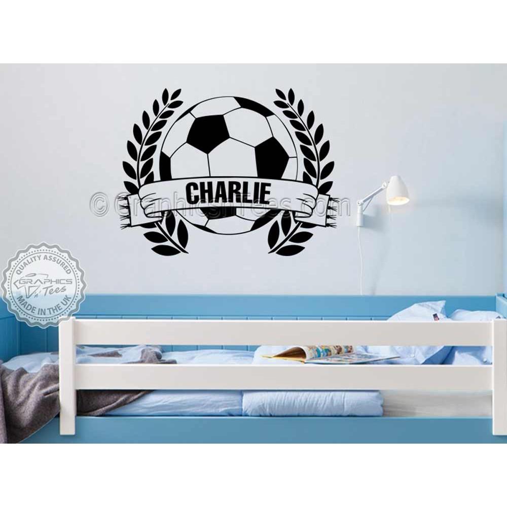 Personalised Football Wall Stickers Boy Girls Bedroom Playroom ...