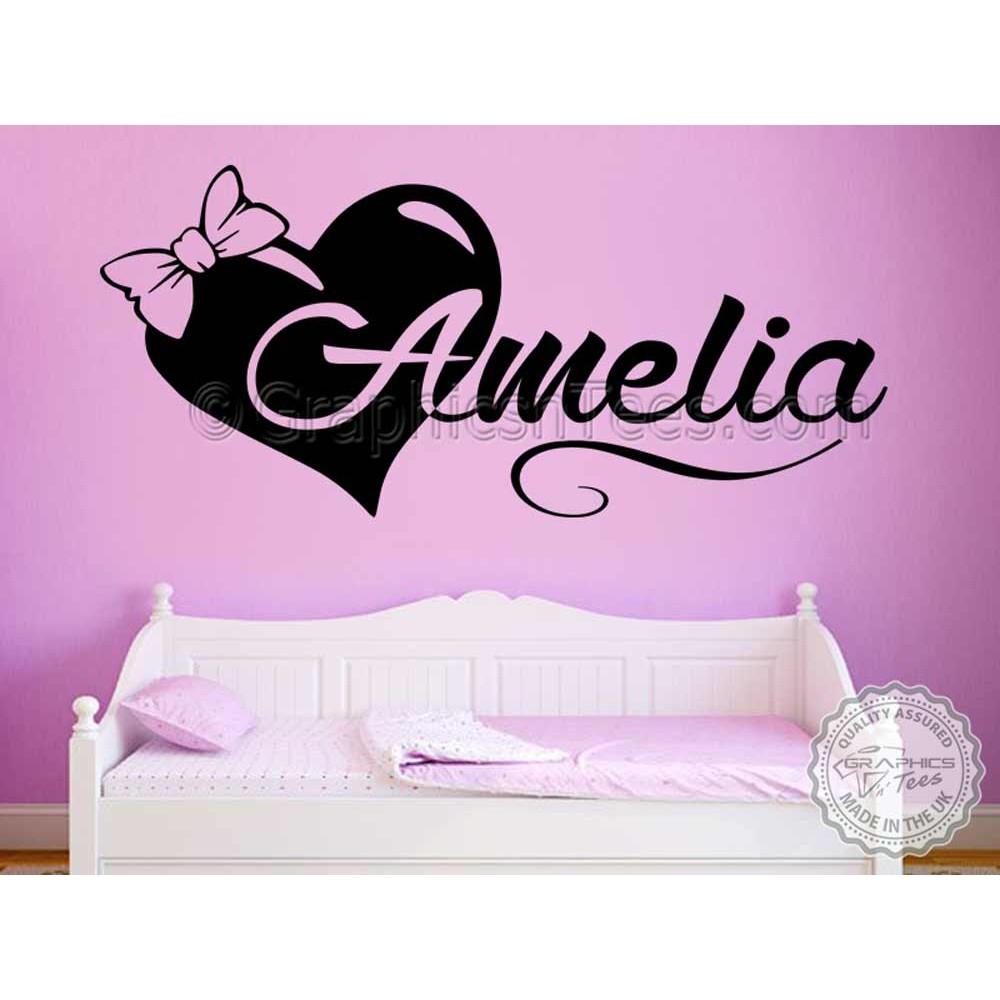 Girls Personalised Bedroom Nursery Wall Sticker Decor ...