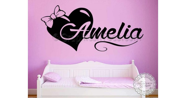 Girls Personalised Bedroom Nursery Wall Sticker Decor Decal with Bow ...