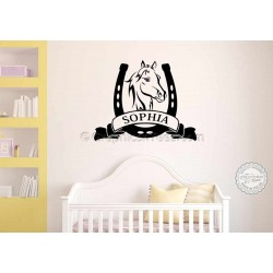 Personalised Horse Wall Stickers, Boy Girls Bedroom Playroom Wall Decor Decal