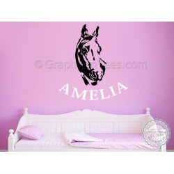 Personalised Name with Horse Wall Sticker, Boy Girls Bedroom Playroom Vinyl Wall Decal