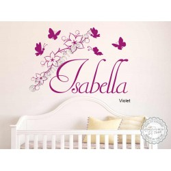 Girls Personalised Bedroom Nursery Wall Sticker with Flowers and Butterflies