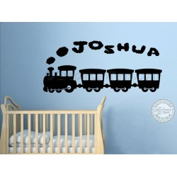 Personalised Nursery Bedroom Playroom Wall Sticker with Train