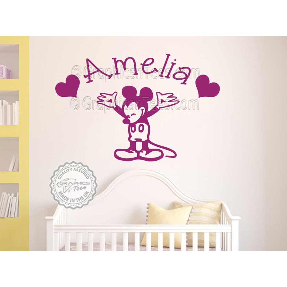 Personalised Mickey Mouse Nursery Wall Sticker Baby Boy Girl