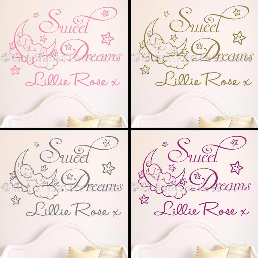 personalised sweet dreams nursery bedroom wall sticker quote with