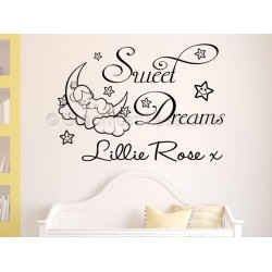 Personalised Sweet Dreams Nursery Bedroom Wall Sticker Quote with Sleeping Baby