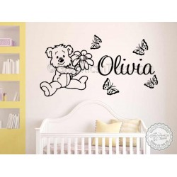 Personalised Teddy Bear Nursery Wall Sticker Children's Bedroom Playroom Wall Decor Decals