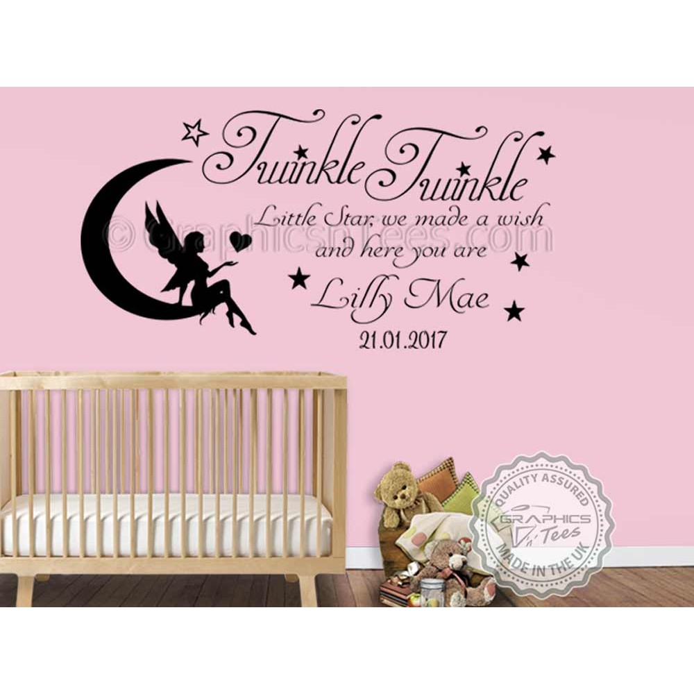 Personalised twinkle twinkle little star nursery wall for Baby girl wall mural