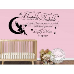 Personalised Twinkle Twinkle Little Star Nursery Wall Sticker Baby Boy Girl Bedroom Wall Quote Decor Decal