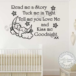 Read Me A Story Nursery Wall Sticker Baby Boys Girls Nursery Wall Quote Bedroom Decor Decal
