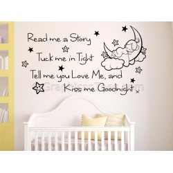 Read Me A Story, Nursery Wall Sticker Quote, with Sleeping Baby Girls Bedroom Wall Decal