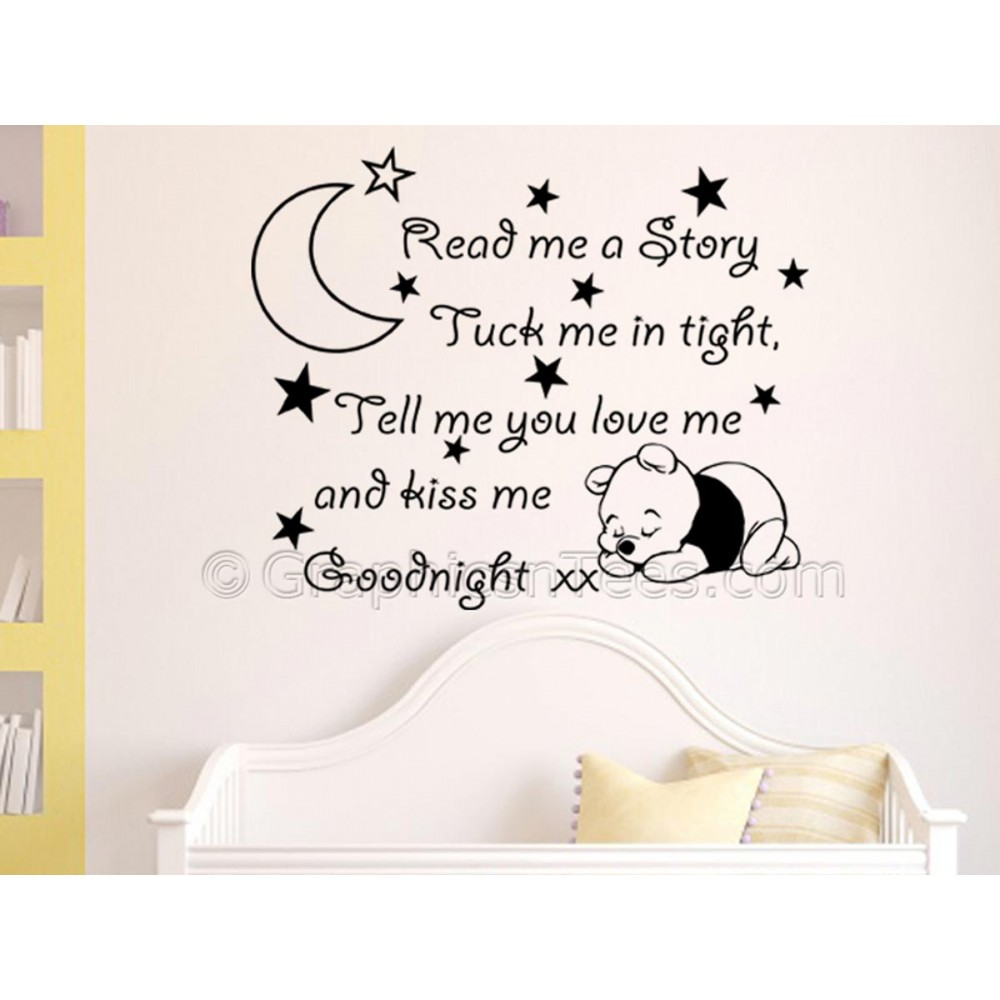 Read Me A Story Nursery Wall Sticker Quote With Sleeping Baby Winnie The Pooh Boy S Bedroom Decal