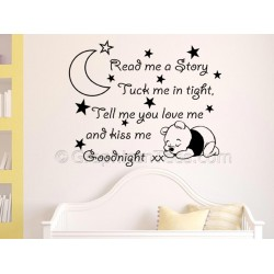 Read Me A Story, Nursery Wall Sticker Quote, with Sleeping Baby Winnie the Pooh, Boy Girls Bedroom Wall Decal