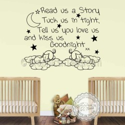 Nursery Wall Sticker For Twins Read Us A Story Baby Boys Girls Bedroom Wall Quote Decor Decal with Sleeping Babies