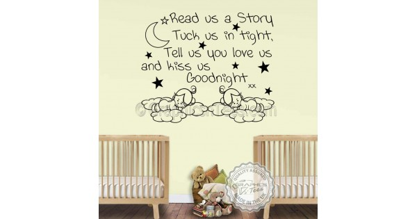 Nursery Wall Sticker For Twins Read Us A Story Baby Boys
