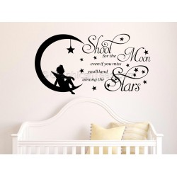 Shoot For The Moon, Childrens Boy Girl  Nursery Bedroom Playroom Wall Sticker Quote Vinyl Decal