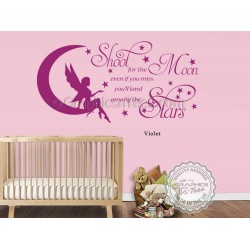 Shoot For The Moon Wall Stickers Baby Boy Girl  Nursery Bedroom Playroom Wall Quote Decor Decals with Fairy on Moon