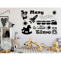 So Many Toys Playroom Wall Stickers Boys Girls Bedroom Nursery Wall Decor Decals with Train