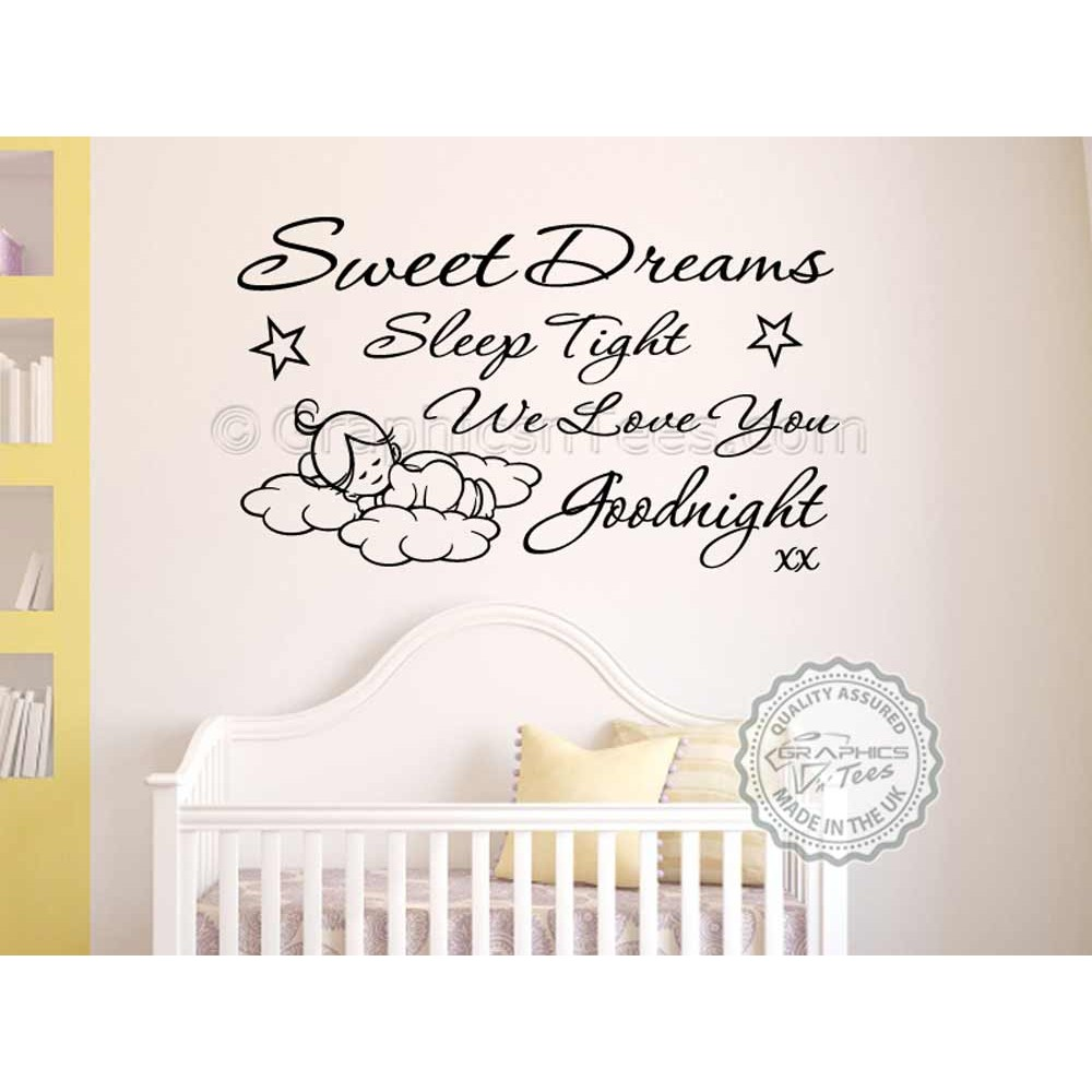 Sweet dreams sleep tight wall art sticker baby boy girl for Baby boy wall mural
