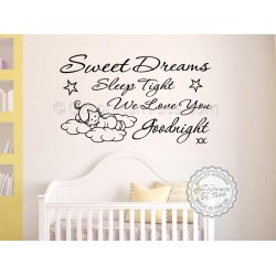 Sweet Dreams Sleep Tight Wall Art Sticker, Baby Boy Girl Bedroom Nursery Wall Quote Decor Decal with Sleeping Cloud Baby