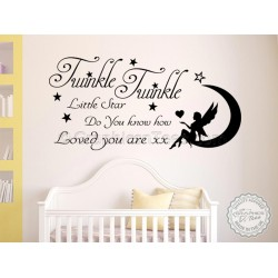 Twinkle Twinkle Little Star Do You Know How Loved You Are, Baby Boy Girls Nursery Bedroom Wall Sticker Quote Decor Decal