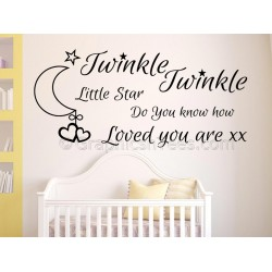 Twinkle Twinkle Little Star Do You Know How Loved You Are, Baby Boy Girls Nursery Bedroom Wall Sticker Quote
