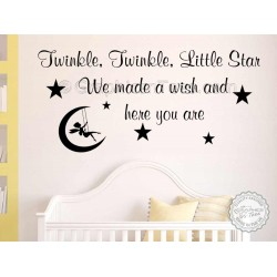 Twinkle Twinkle Little Star Nursery Wall Sticker Baby Boy Girl Bedroom Wall Quote Decor Decal with Fairy Swinging in the Moon