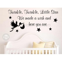 Twinkle Twinkle Little Star Nursery Wall Sticker Baby Boy Girl Bedroom Wall Decor Decal Quote (Stork)