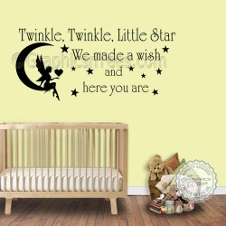 Twinkle Twinkle Little Star Wall Stickers Baby Boys Girls Bedroom Wall Quote Decor Decals with Fairy Sitting On The Moon