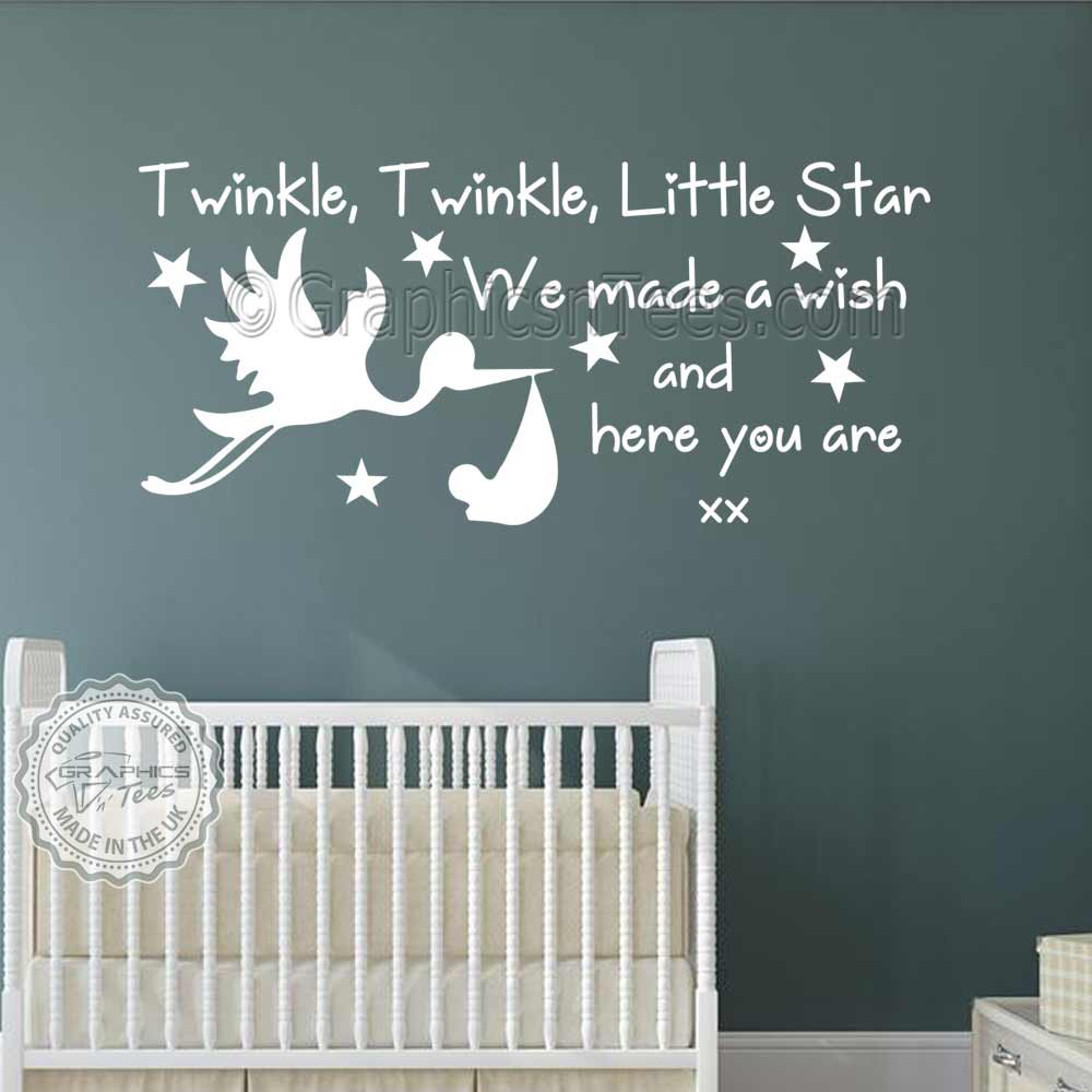 Twinkle Twinkle Little Star With Stork Nursery Wall Sticker Quote with Stars Baby Boy Girls Bedroom Wall Quote Decal