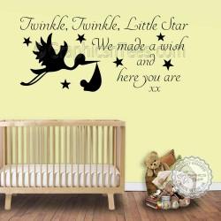 Twinkle Twinkle Little Star Wall Stickers Baby Boys Girls Bedroom Wall Quote Decor Decals with Stork